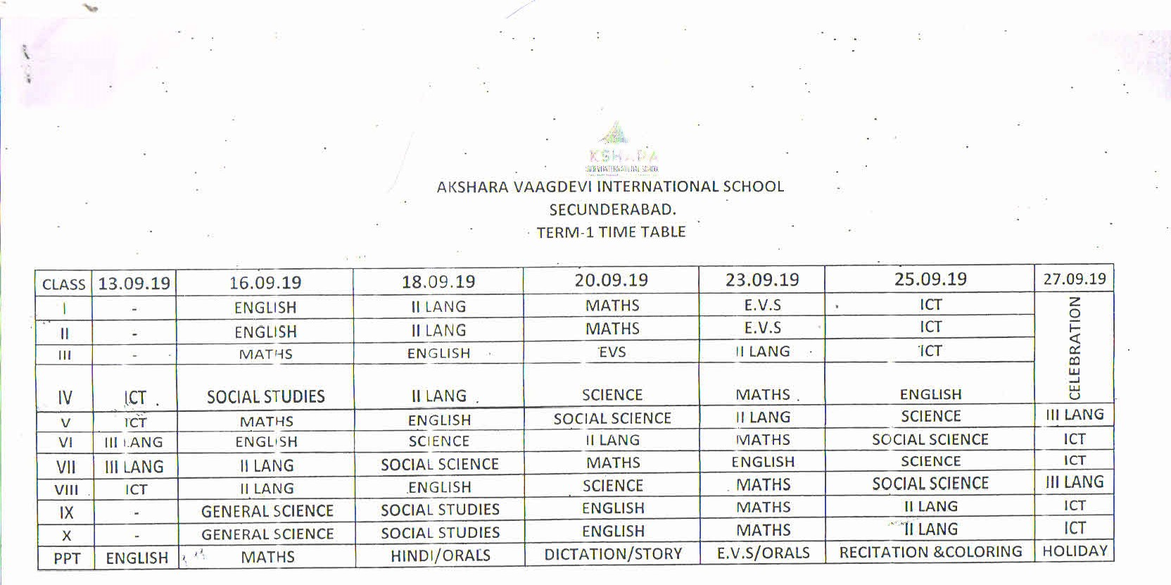 Term-1 Time-Table